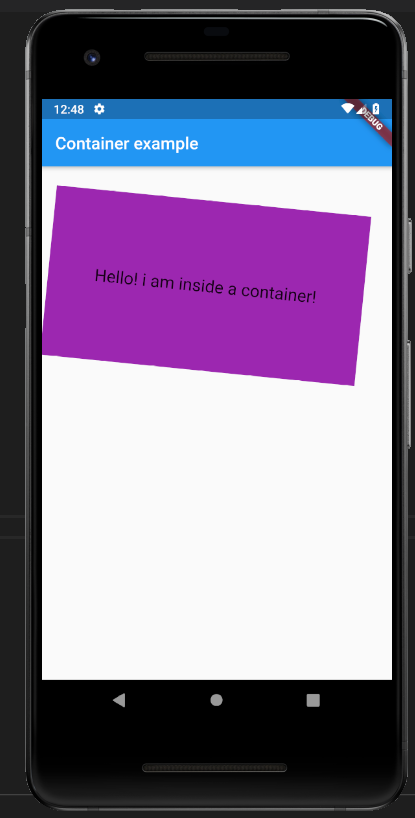 transform in container class in flutter