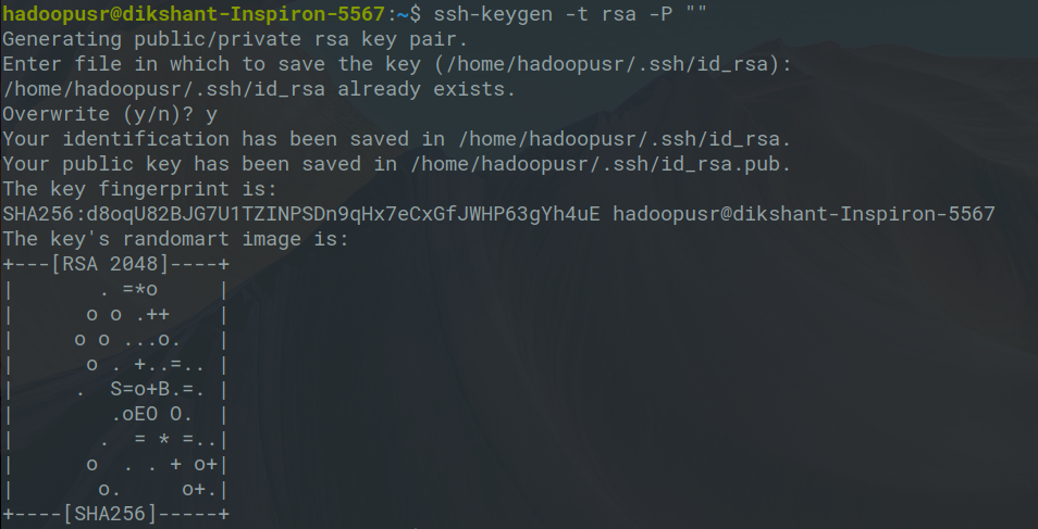 generating ssh key for Hadoop user