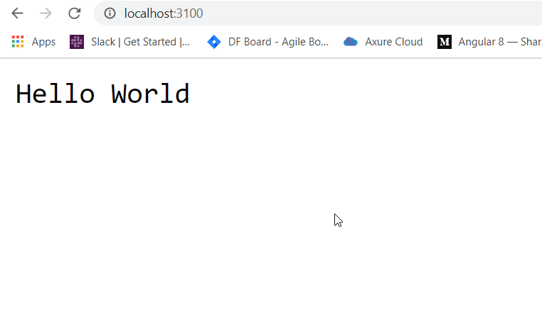 Node Hello World Output