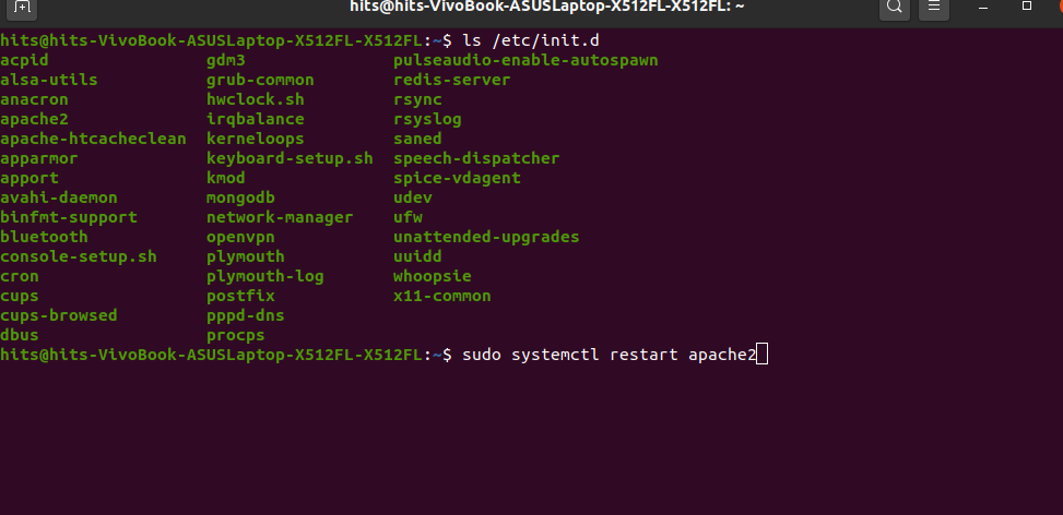 selecting-service-t-restart-linux