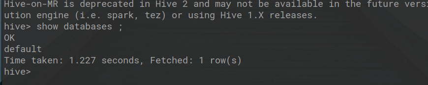 Output of Hive Command