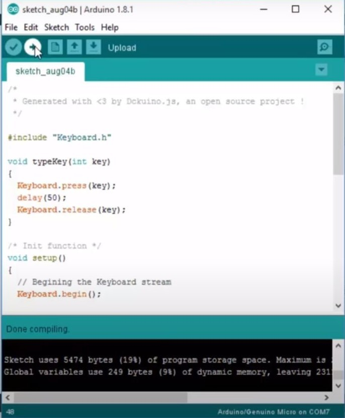 Upload the code to Arduino Device