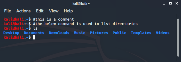 comment-in-kali-terminal