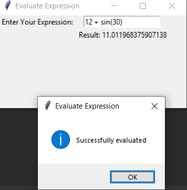 Evaluate expression working