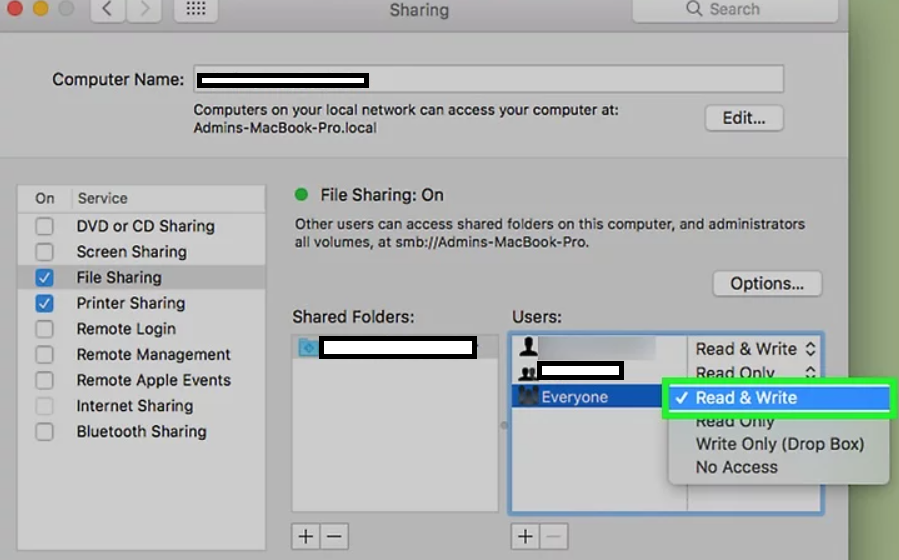 Enable file sharing