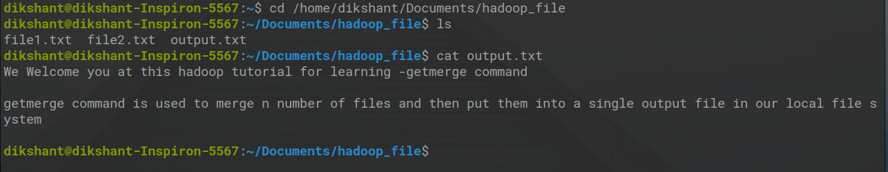 getmerge command output in Hadoop