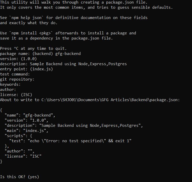 npm init details