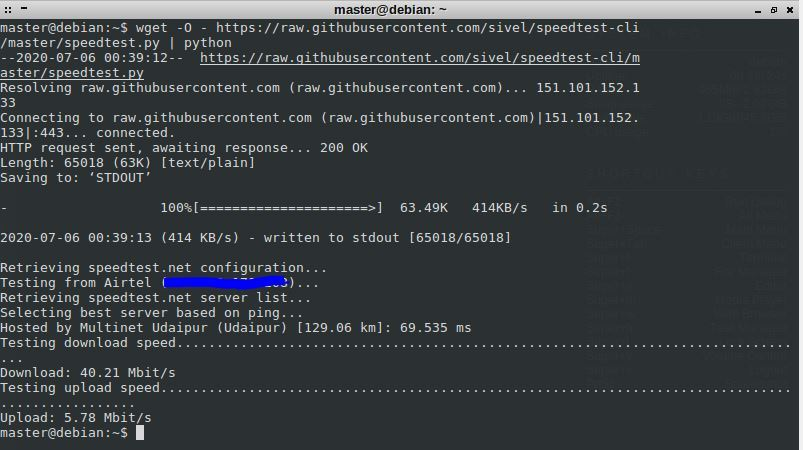 download and upload speed from the Linux command line
