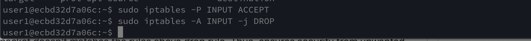 inserting drop and accept rules iptables