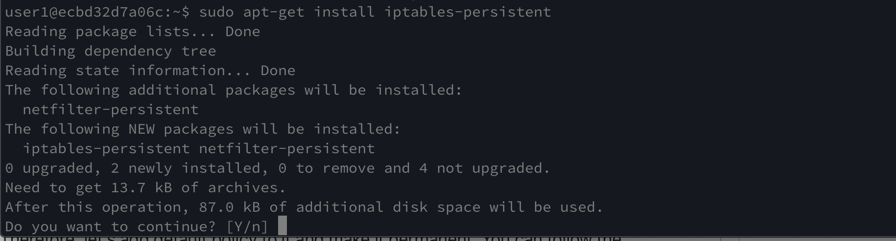installing iptables-persistent linux