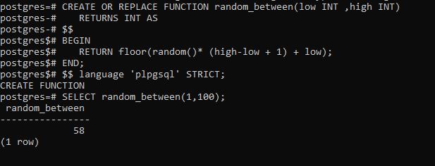 psql random function