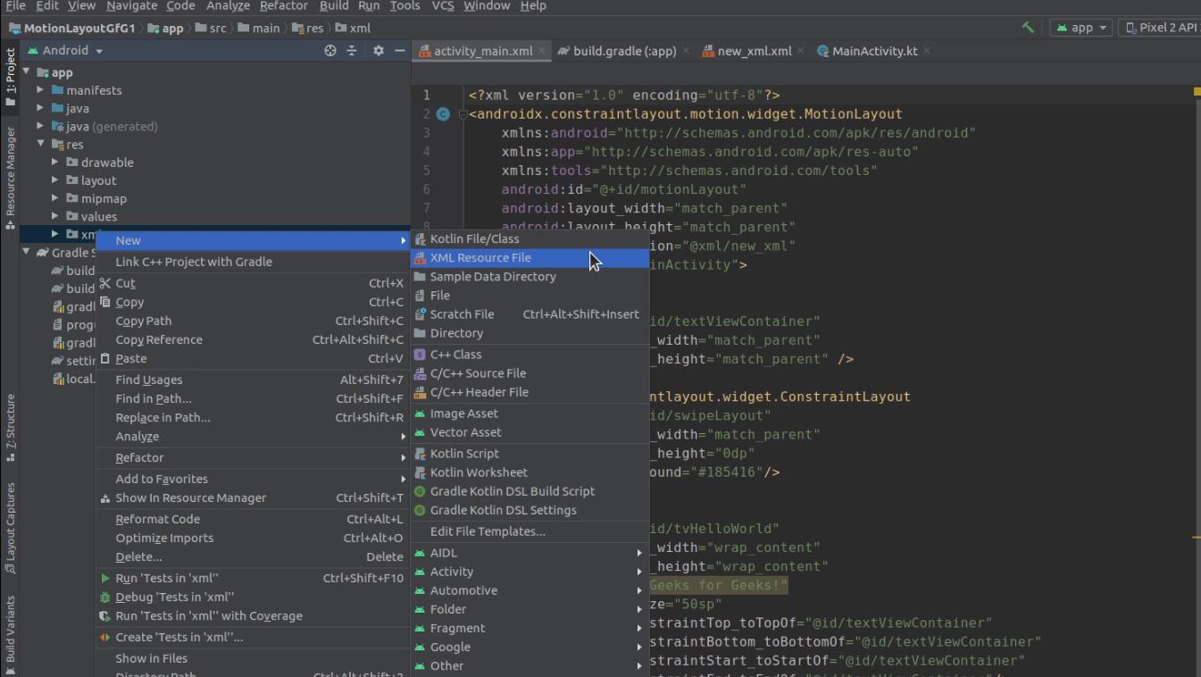 Creating XML resource file