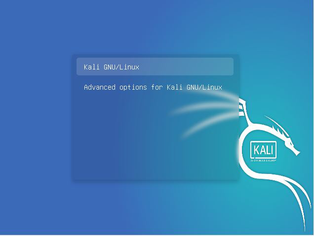 Boot into your machine to grub menu in Kali Linux