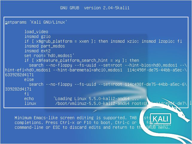 Edit mode in grub Kali Linux