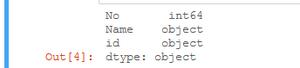 datatypes of dataframe