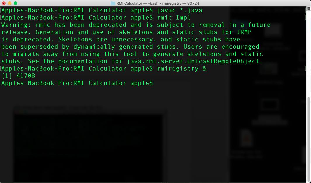 Calculator using rmi in java - rmiregistry tool