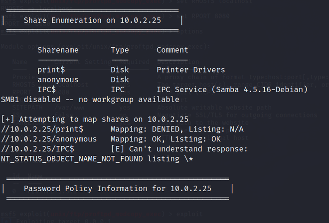 enu4linux to enumerate SMB