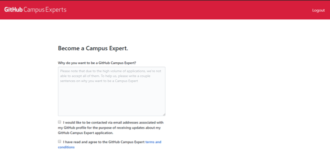 GitHub Campus Expert Application Form