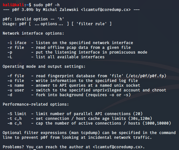 p0f tool in kali linux