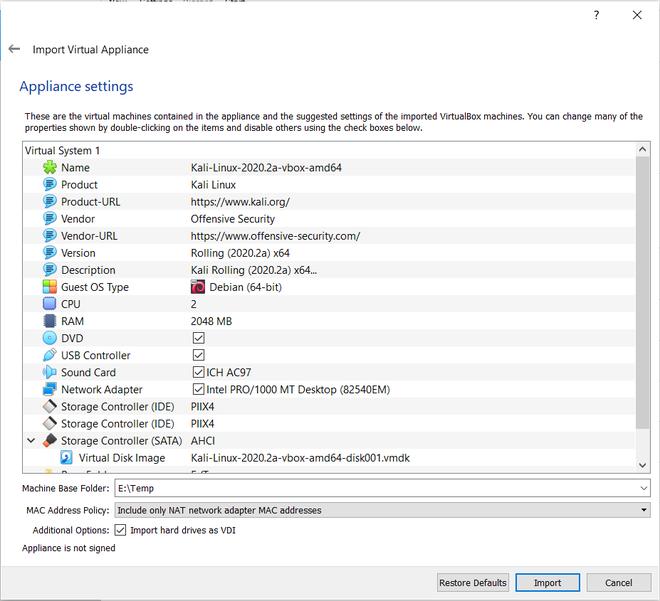 VM Box Configuration For Kali Linux Image Installation