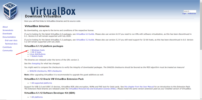 Virtual Box Downloading