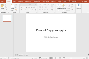 Adding title and subtitle to the powerpoint