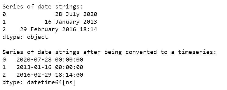 date string to time series conversion