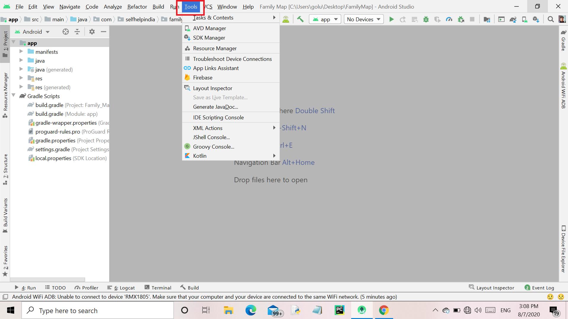 tools menu button
