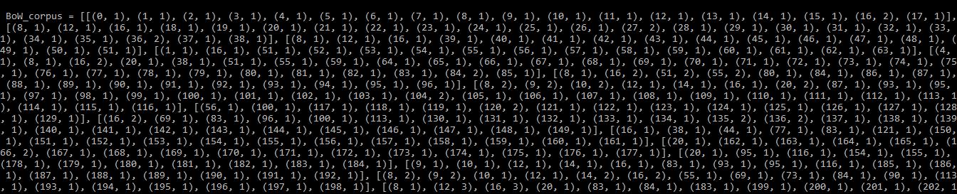 Output for print(BoW_corpus)