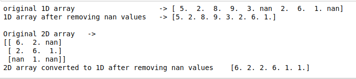 remove nan in numpy python