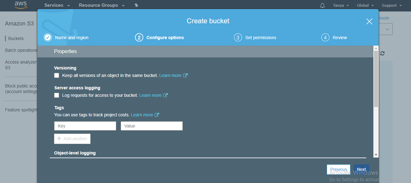 create bucket details page