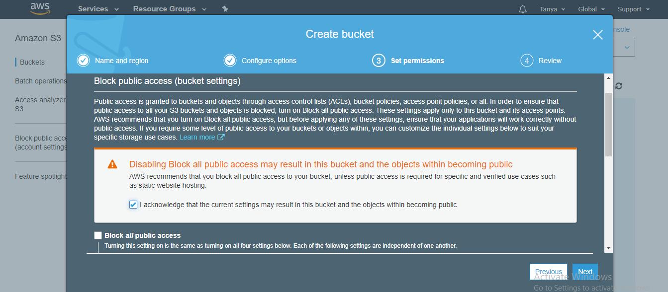 AWS create bucket