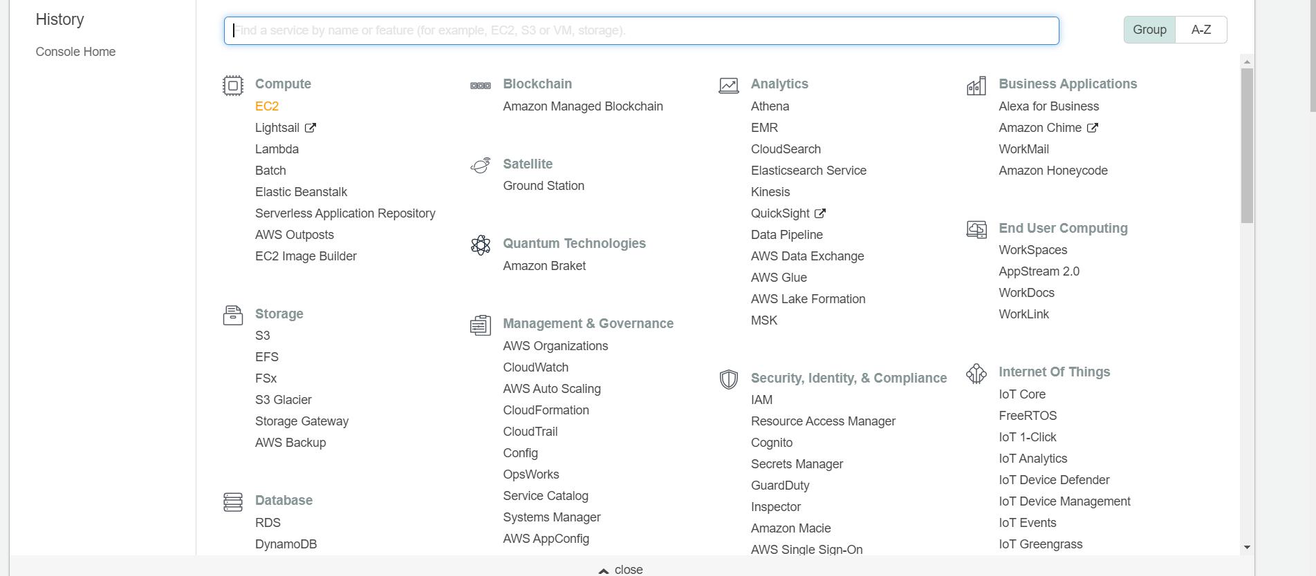 AWS search bar