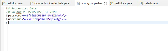Database encryption in Java - encrypted username and password can be seen in config properties file