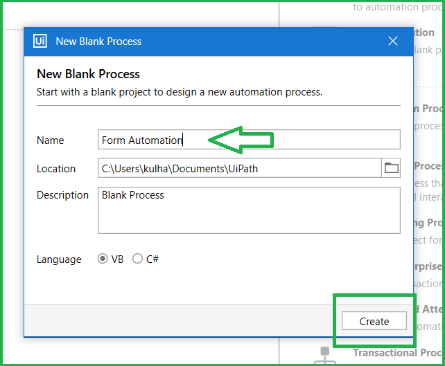 Select Name for the Process