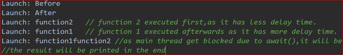 Expected log output
