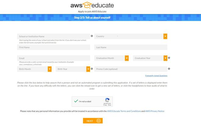 aws educate form