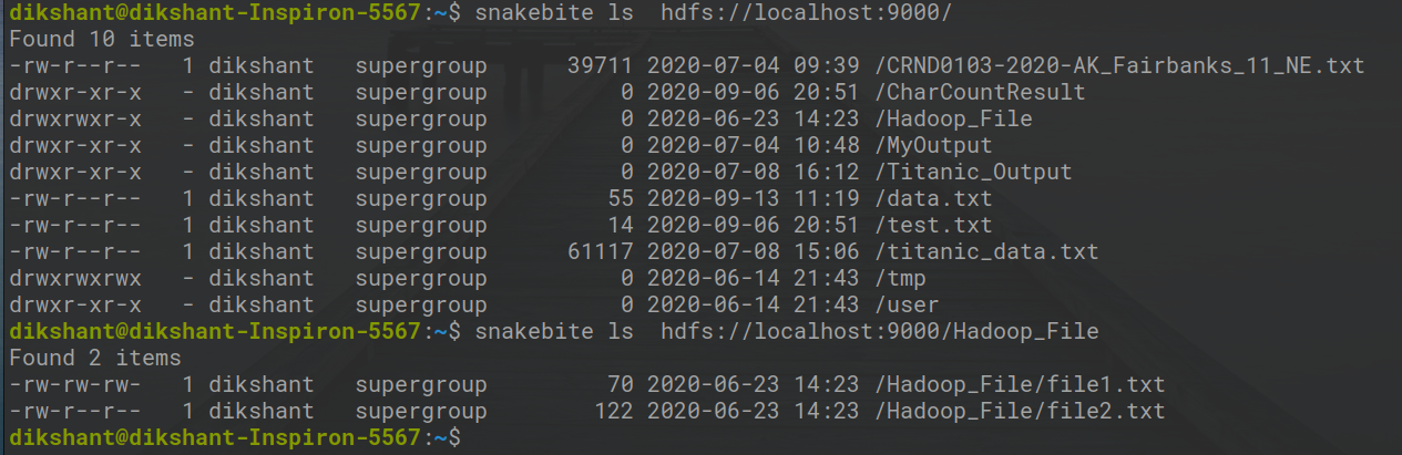 Listing all the directory's available in the root directory of HDFS