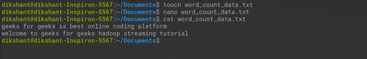 Create a file with the name word_count_data.txt