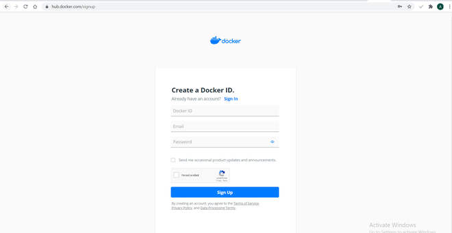 docker sign in page