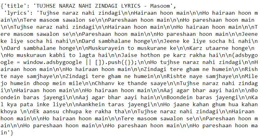 lyrics extractor using Python
