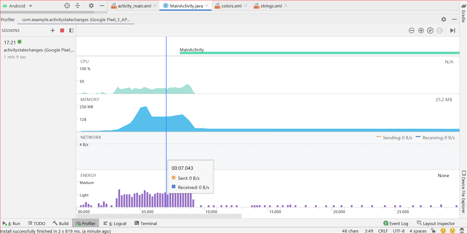 Image Showing App Usage Data Using  Andorid Profiler in various respects