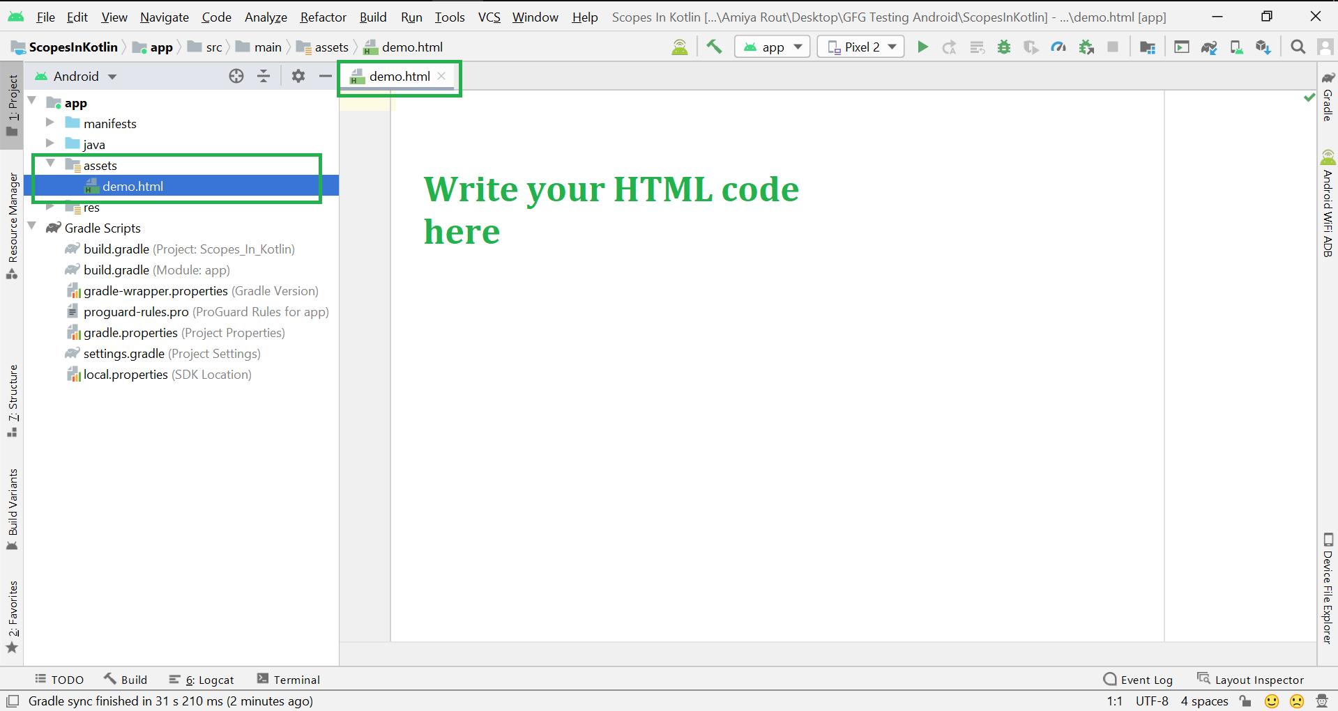 Add Local HTML File
