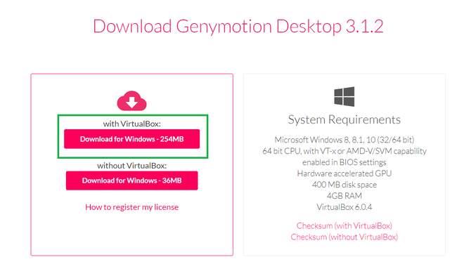 Install Genymotion Emulator