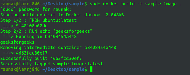 using dockerfile