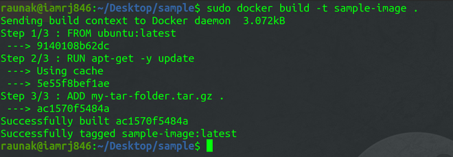 docker image build