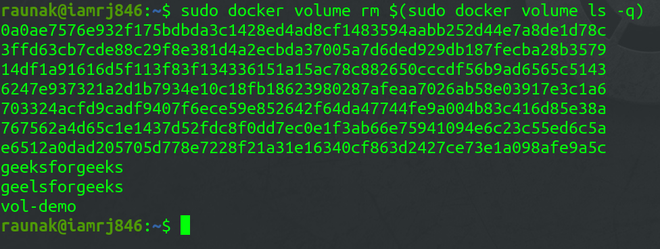 Removing all the Docker Volumes