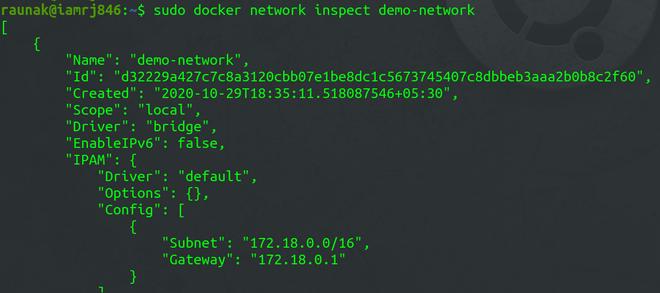Docker Network Inspect sub-command