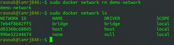 Docker Network rm sub-command