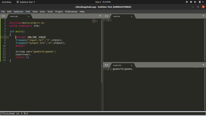 Setting up sublime text for competitive coding in C++14(ubuntu)